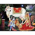 Yashoda Feeding Milk to Krishna Direct from Cow's Udder