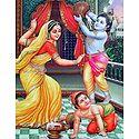 Mother Yashoda Scolding Krishna and Balarama for Stealing Butter
