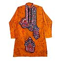 Yellow Batik Cotton Kurta for Men