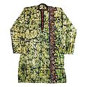 Kantha Stitched Mens Batik Cotton Kurta