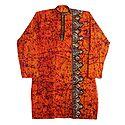 Kantha Stitch on Saffron Batik Cotton Kurta