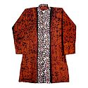 Dark Saffron Batik Cotton Kurta for Men