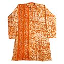 Light Saffron Batik on Off-White Cotton Kurta