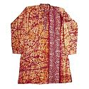 Red Batik on Off-White Cotton Kurta