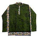 Mens Green Batik Short Kurta