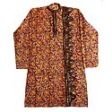 Kalamkari Mens Cotton Kurta with Kantha Stitch