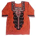 Dark Saffron and Black Batik Painted Kurta with Three Quarter Sleeves