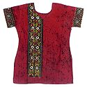 Red and Black Batik Painted Kurta with Kantha Stitch Embroidery
