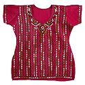 Kantha Stitch on Red Cotton Kurti