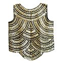 Golden Thread Embroidery on Black Ladies Top