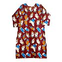 Printed Hand Gestures on Rust Red Cotton Kurta
