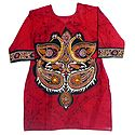 Batik Painted Two Peacocks on Red Kurta with Three Quarter Sleeves