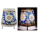 Leather Perforated Stand Lamp Shade with Colorful Hand Painted Flower Design