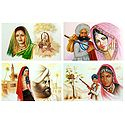 Rajasthani and Maharashtrian People - Set of 4 Unframed Poster