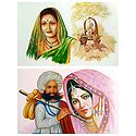 Rajasthani and Maharashtrian People - Set of 2 Unframed Poster