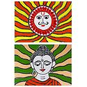Sungod and Lord Buddha - Set of 2 Madhubani Paintings on Unframed Photographic Paper
