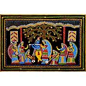 Radha Krishna with Gopinis - Wall Hanging
