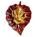 Golden Ganesha on Red Leaf - White Metal Wall Hanging