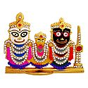 Stone Studded Jagannath, Balaram, Subhadra - For Car Dashboard