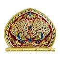 Wooden Fan with Meenakari Peacock on Metal  Foil Paper with 4 Key Hooks - Wall Hanging