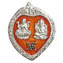 Lakshmi, Ganesha on Red Leaf - Wall Hanging