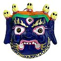 Wrathful Buddhist Deity Mahakala Metal Mask for Wall Decoration