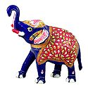 White Metal Multicolor Royal Elephant
