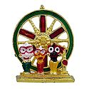 Jagannath, Balaram, Subhadra in Front of Wheel - For Car Dashboard