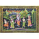 Krishna with Balaram and Gopinis