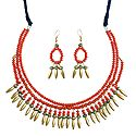 Saffron Bead Necklace with Earrings