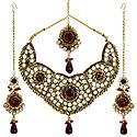 Faux Garnet and Cubic Zirconia Necklace Set with Mang Tika