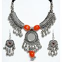 Metal Necklace with Gorgeous Pendant and Earrings