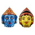 Radha and Krishna Papier Mache Mask - Wall Hanging