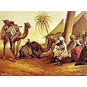 Merchants with Camels in the Desert