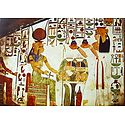Queen Nefertari Offering Nu Pots to the Goddess Hathor (From an Egyptian Painting)