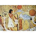 Dead Man Standing in Barge of the Sun Worshipping The Phoenix (From an Egyptian Painting)