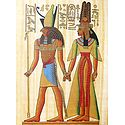 God Horus Holding Hand of Queen Nefertiti (Reprint From an Egyptian Painting)