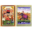 King with His Concubines and Hunter - Set of 2 Unframed Posters