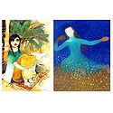Village Girl and Angel - Set of 2 Small Posters