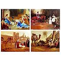 European Beauties and Camels with Merchants - Set of 4 Posters