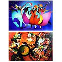 Rain Dance and Gujrati Dance - Set of 2 Posters