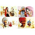 Rajasthani People - Set of 4 Unframed Posters