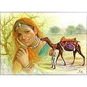 Rajasthani Man, Woman and Camel