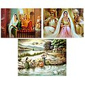 Rajasthani Beauties and Bathing Ghat - Set of 3 Poster