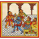Lord Krishna and Gopis with Yashoda and Nandaraja