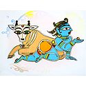 Bal Gopal with Cow - Photo Print of Jamini Roy Painting