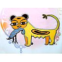 Cat with Lobster - Photo Print of Jamini Roy Painting
