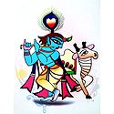 Murlidhar Krishna - Photo Print of Jamini Roy Painting