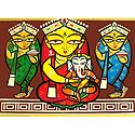 Lakshmi, Saraswati and Durga with Ganesha - Photo Print of Jamini Roy Painting