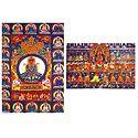 Amitabha with Entourage and Amitabh Buddha (Reprint of Medieval Painting) in Alchi Monastery, Ladakh - Set of 2 Postcards